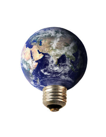concerns: an electrical earth  lightbulb symbolizing environmental concerns and ecology