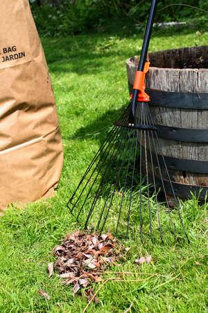 Recién rastrillada patio, con rastrillo, hojas y reciclaje de desechos de jardín bolsa de papel Foto de archivo - 4995077