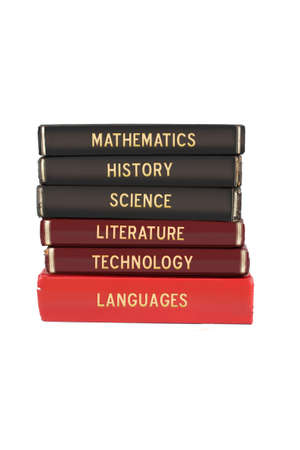 School subjects textbooks like mathematics, history, science, and technology on a white background Stock Photo