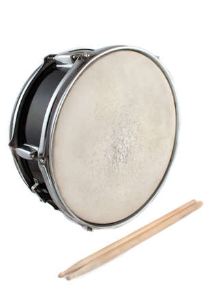 snare: Snare drum and drumsticks on a white background  Stock Photo