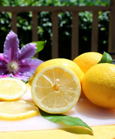 lemony: Cut and whole lemons on a white board in the outdoors, fence in the background
