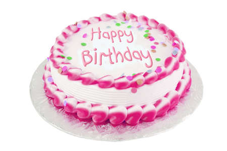 Decorated pink frosted happy birthday cake