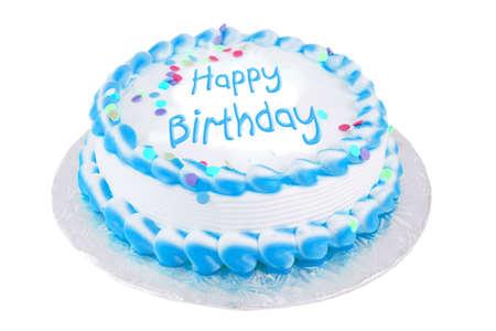 Gelukkige verjaardag writtin op een witte en gele matte feestelijke taart Stockfoto