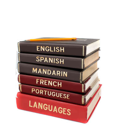 english dictionary: Languages textbooks like english, spanish, mandarin, french and portuguese for educational purposes Stock Photo