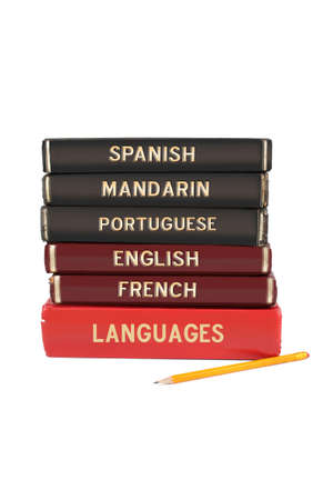 linguistic: Languages textbooks like english, spanish, mandarin, french and portuguese for educational purposes Stock Photo