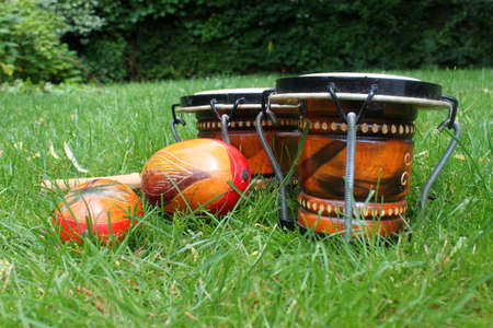 Colorful latin rhythm instruments, a set of bongo drums and a pair of maracas photo