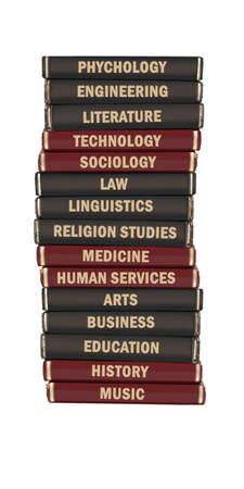 sociologia: Los libros de texto de nivel de objeto de Universidad apilan sobre un fondo blanco
