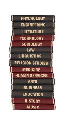 information technology law: University level subject textbooks stacked on a white background Stock Photo