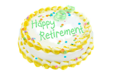 Happy retirement, yellow and white frosted festive cake with light green letters