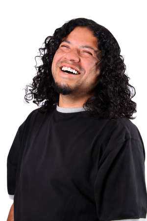 Multi-racial male with bright white teeth smile and long curly hair on a white background 版權商用圖片