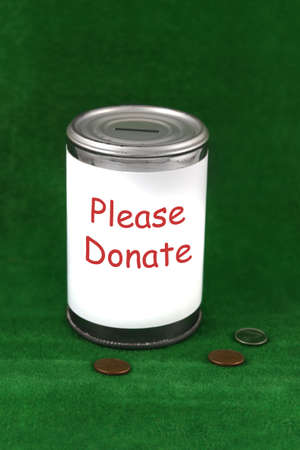 Verander tot naast een donatie goed doel blikje