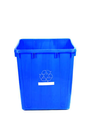 Blue Recycling bin on a white background