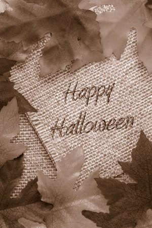hintergr�nde: fallen Hintergrund mit Sepia-Bl�tter f�r Bindfaden Seile Papier mit Happy Halloween