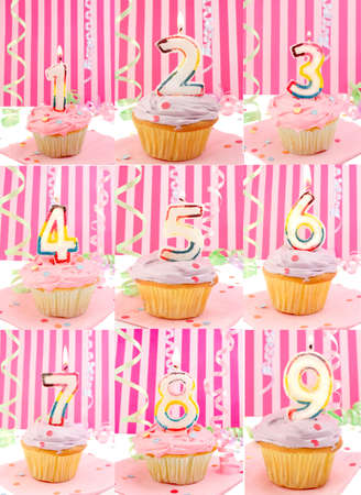 eighth: Pink frosted birthday decorated cupcakes with lit candles from 1 to 9