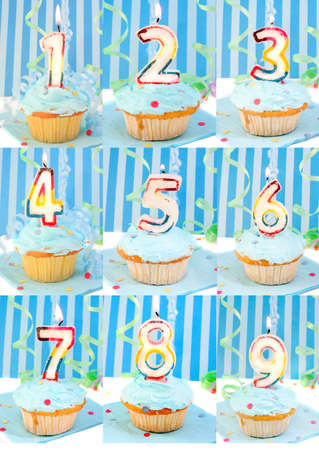 eighth: Blue frosted birthday decorated cupcakes with lit candles from 1 to 9