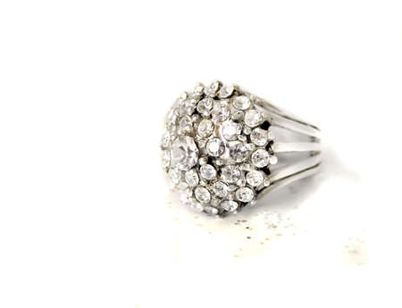 beautiful multi diamond sparkling ring on a white background