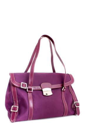 tervező: Fushia colored designer handbag on a white background Stock fotó