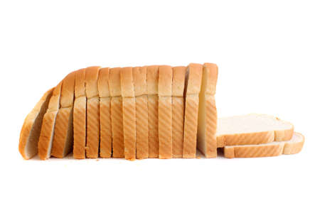 bread slice: A loaf of baked white bread with golden crust Stock Photo