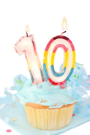 tenth birthday cupcake with blue frosting on white background Stock Photo - 5586861