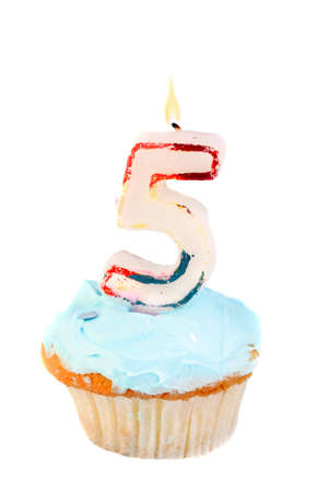 fifth: fifth birthday cupcake with blue frosting on a white background