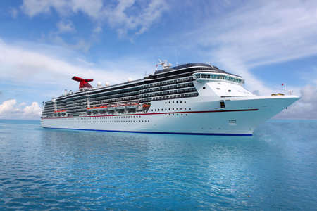 Cruise ship in the clear blue Caribbean ocean