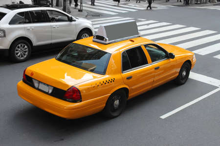 Yellow taxicab  in the streeets of  New York City