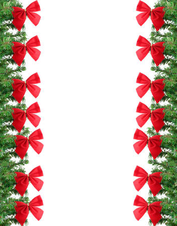 fake christmas tree: Green  pine tree christmas border or frame background with red festive bows
