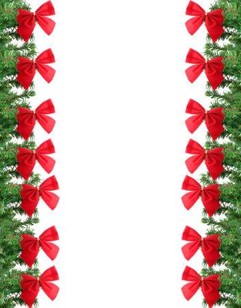 Groene pine structuur kerst rand of frame achtergrond met rode feest boeg Stockfoto - 5990916