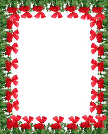 boughs: Green pine branches with red christmas bows. Great for a greeting card, frame, or border