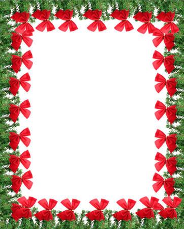 Groene pine takken met rode kerst bows. Ideaal voor een wens kaart, frame of rand
