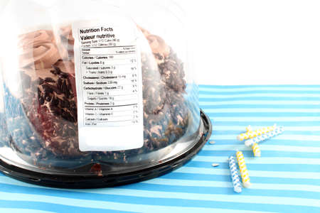 chocolaty: Black Forest Chocolate cake in package containing nutritive value label