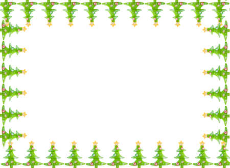 greeting christmas: Green decorative christmas trees with yellow stars. Great for a greeting card, frame, or border