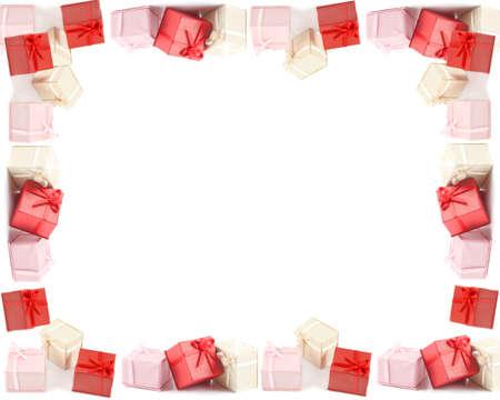 Verschillende gekleurde boxed presenteert met bogen, goed voor frames, randen en achtergronden voor elke gelegenheid zoals Kerstmis, verjaardagen, en de dag van Valentijnskaarten Stockfoto