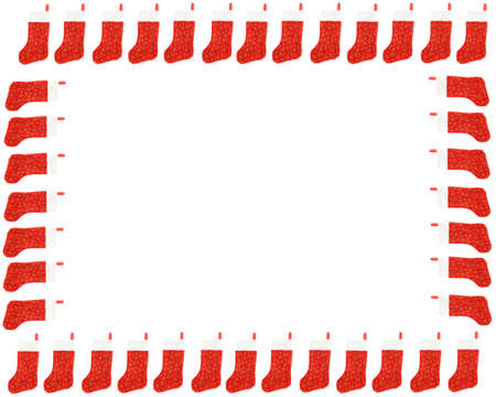 christmas sock: Border, frame, or background of red christmas stocking on a white background