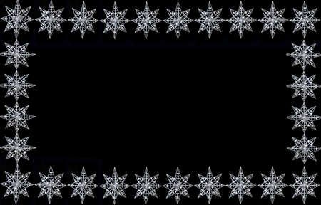 silver frame: a sparkly christmas star ornaments on black background, good for frames, borders or greeting card