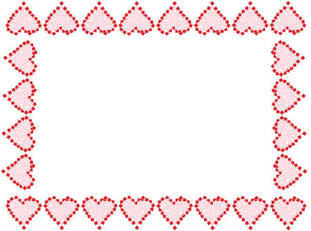 Gift boxes in the shape of red and pink Valentine love hearts as a frame, or border, great for a greeting card Imagens