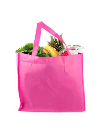 reusable: Colorate rosa eco amichevole della drogheria sacchetti pieni di prodotti vegetali e frutta biologica