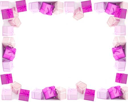 Different pink boxed presents with bows, good for frames, borders and backgrounds for any occasion like Christmas, birthdays, and Valentines day