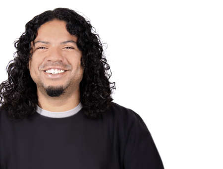 Multi-racial male with big white teeth smile and long curly hair on a white background
