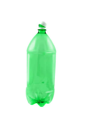 Empty green plastic 2 liter pop bottle ready for recycling