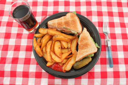 catsup: A plate of a bacon, lettuce and tomato sandwich also known as the BLT , french fried potato wedges, a pickle and catsup for dipping, with glass of cola on the side