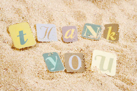 thank you on sand  great for postcard or greeting Stock Photo