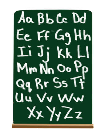 Alphabet in capital and lower case letters on a green chalkboard for primary school education 免版税图像