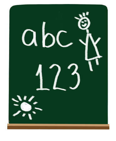 chalky: Easy numbers and letters for primary school or kindergarten level  Stock Photo