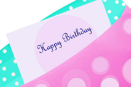Happy Birthday card in pink and blue polkadot envelope