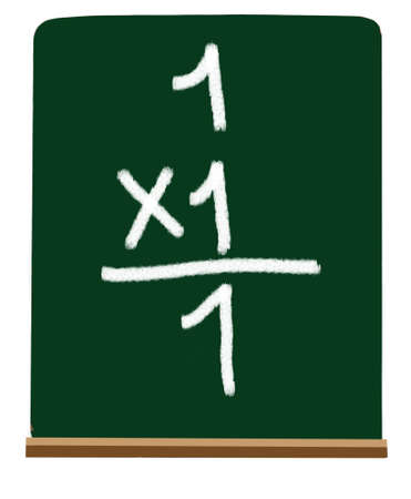 multiplying: Multiplying numbers on a chalboard at a primary level
