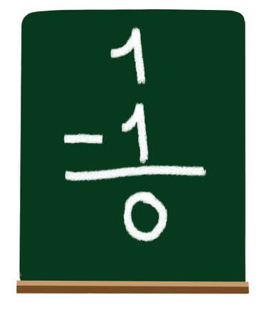 totals: Subtracting numbers on a green chalkboard at a primary level Stock Photo