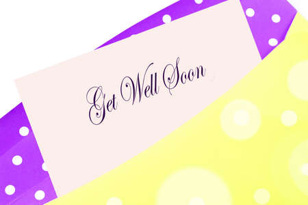 get in shape: Sending wellwishes with a get well soon  card, note or letter in yellow and purple polkadot envelope