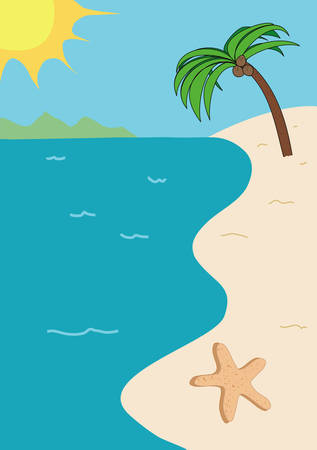 иллюстрация: Tropical beach illustration with sun, sand, sky, starfish, a palm tree, and a golden sun with mountains in the background