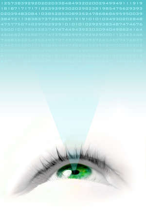 projecting: a floating green eye illustration looking up and projecting numbers Stock Photo